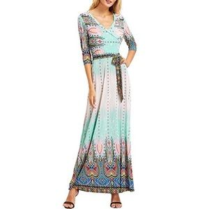 Dresses & Skirts - Bohemian Faux Wrap Maxi Dress